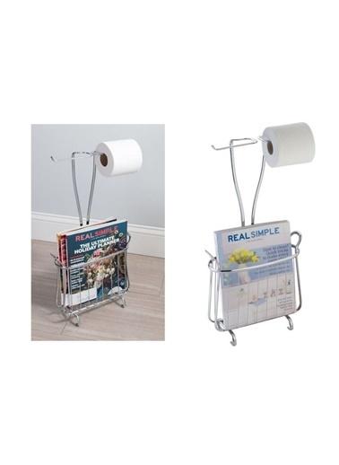 Bosphorus 20 X 20 X 63 Cm Dergi Tutacak Bölümlü Çift Rulo Tutuculu Tuvalet Kağıdı Standı Gümüş